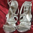 Rhinestone high heels shoe size 8 Medium B,M,De Blossom Collection,Solid,Strappy