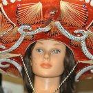 MEXICAN SOMBRERO HAT Red Silver Horseshoe Tassels Mariachi Band Cinco de Mayo