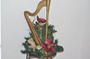 "Silk Flower Display With Harp Base 22"" X 10"""