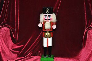NUT CRACKER HOLIDAY SOLDIER,,WHITE,RED, BLACK AND GREEN 13''TALL