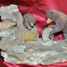 """Brown Bear and Cub Fishing Art Sculpture NIB Very Detailed Hand Painted 10"""" X 8"""""""