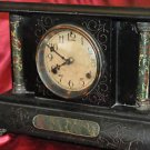 Black Mantel Clock Marbleized Victorian