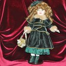 "BRASS KEY INC Porcelain Doll 16"" Little Golden Blond In Holiday Type Dress"