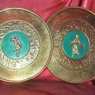 "Oriental Decorative Plates 2 Metal  Wall Decor His and Hers.. 11"" round"