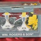 PAIR OF VINTAGE RARE SHAPE WM ROGERS & SON SILVER PLATED CANDLE HOLDERS