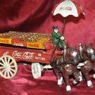 Coca Cola Horses and Wagon with Coke Crates, Unbrella on Wagon, Cast Iron 13inch