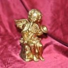 """7"""" Gold Angel with Instrument Christmas French Horn"""