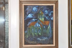 "Van Gogh�s Church in Auvers Reproduction by Papou 29.5"" X 24"" Framed Painting"