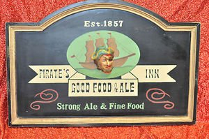"Pirate""s Inn good food & Sign Strong ale Contemporary, Man Cave & Plaque Multi-C"