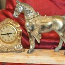 Horse with Cowboy Saddle Metal Mantel Electric Clock, by United Co. NY