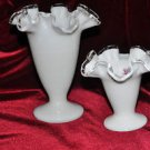 2 Double Crimped Vase Silver Crest pattern by Fenton- Crystal & Milk Glass