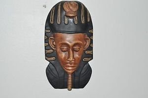 Wall Mask Vintage Decor Hanging Pharaoh Art Unique Creations Hand Carved Deco