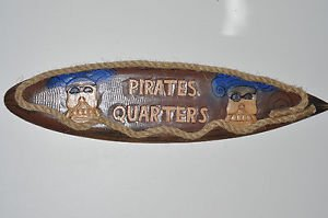PIRATE QUARTERS WOODEN NAUTICAL SURFER BOARD SIGN Plaque 38''LONG Multi-Color