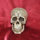 "HEAD HUNTER ANCESTRAL HUMAN TROPHY RESIN SKULL TRIBAL INSCRIBTIONS 5"" X 4"""