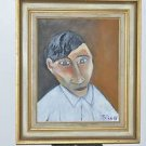 "Pablo Picasso Self-Portrait Oil Painting Gold Ornate Vintage Frame 23"" X 28"""