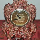 Cottage VTG Lanshire Movement Electric Mantel Clock Pink Resin Embedded Stones