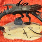 Prehistoric Ancient Dragon Gothic Fantasy Figurine with Wolverine Fighting