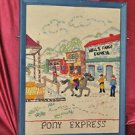 "Crochet Art Pony express Wells Fargo express with Cowboys 14"" X 11"""