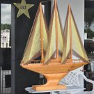 GIANT RARE WOODEN SAIL BOAT STRING SAIL MAN CAVE UNIQUE SAILBOAT FOR THE SEA