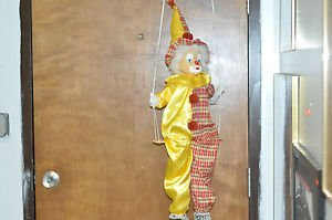 LARGE 23 INCH CLOWN DOLL WITH PORCELAIN HEAD ON SWING red and yellow outfit