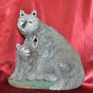 Large Howling Wolf & Cubs Cone Incense Burner Gifts Decor Ceramic & Multi-Color