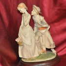 """Victorian Young Couple in Love Porcelain . First Kiss 10"""""""
