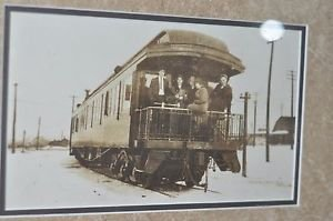 "Matted Framed Photo of Box Car Train with People from Early 1900 17.5"" 14.5"""