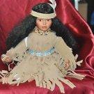 "Beautiful Sitting Indian Princess Porcelain Doll 15"" Tall Sitting Down"