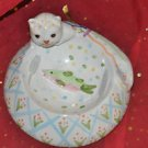 KITTY CAT PORCELAIN FOOD OR WATER DISH Ceramic and Number of Bowls 1 Raised Bowl