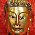 Thai Buddha face decor Base made of wood Beautiful Face made of Resin