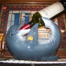 Blue Laying Down Dolphin Wine Bottle Holder~Beach Decor Multi-Color and Ceramic