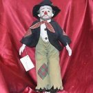 "18"" Authentic Heritage Musical Porcelain Clown Doll Plays Send In The Clown VTG"