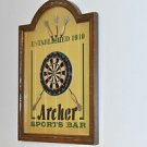 Archer Sports Bar Wooden Sign 16''tall Contemporary, Multi-Color and Plaque