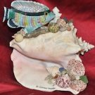 Seaside Queen Conch Mixed Media Sculpture With Seashells, Beach Rocks, Crystals