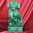Chinese Green Glaze Hand Sculpted Foo Fu Lion Dog 15""