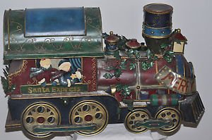 "Santa Express Merry Christmas Tin Metal Train 26"" X 17"" X 11"""
