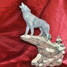 Gray Wolf on Cliff Howling At Moon Decorative Statue 13 Inch Mixed Materials and