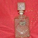 GLASS LIQUOR DECANTER scotch whiskey spirit whisky booze w/label tag emblem