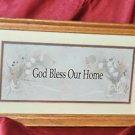 Flowers God Bless Our Home 14x9 Framed Country Picture Print Art