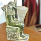 Egyptian Pharaoh Figurine Sitting ona Throne covered in Hyrogryphics candle hold