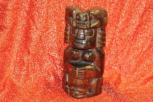 Aztec Indian Hand Carved Wooden Tribal Tiki Totem