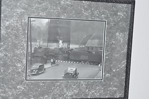 """Matted Framed Photo of Box Car Train Crossing from Early 1900 16.5"""" 12.5"""""""