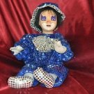 "Ceramic Clown Blue outfit 18"" Tall"