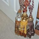 Three Double Large Luxury Rope Tassel Curtain Tie Backs Gold beads & Crystal