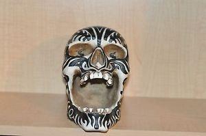 HEAD HUNTER ANCESTRAL HUMAN TROPHY RESIN SKULL ZEBRA STRIPED