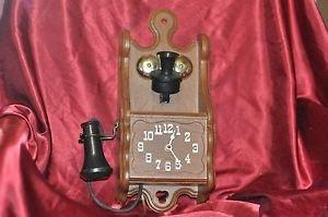 "VTG Hand Crank Telephone Clock 16"" X 7"""