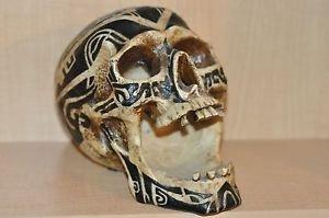 HEAD HUNTER ANCESTRAL HUMAN TROPHY RESIN SKULL TATOO