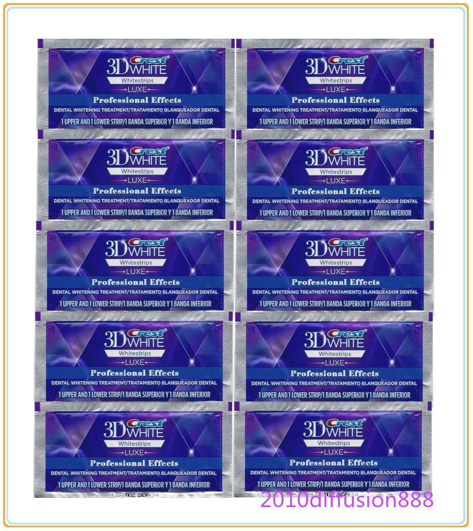 New Crest 3D Whitestrips LUXE Professional Effects 10 Pouches 20 Strips