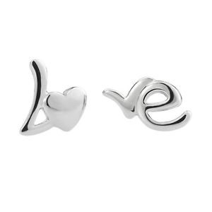 "New 925 Sterling Sliver Cute""LO And VE"" Stud Earring One Pair Beautiful"