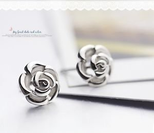 "NEW 100%  925 Sterling Sliver Cute "" ROSE "" Stud Earring One Pair Beautiful"